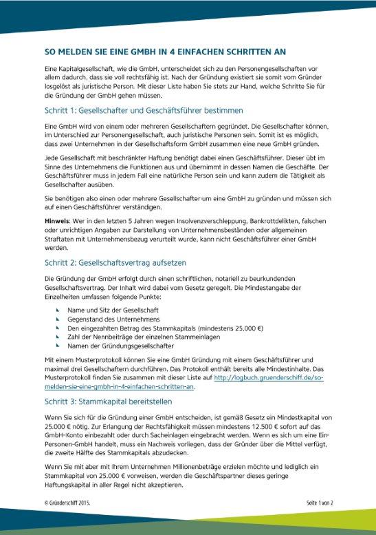 Schritte zur GmbH Anmeldung