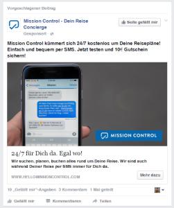 Typische Facebook Werbeanzeige